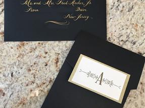 Pocked Wedding Invitation Front and Envelope