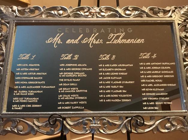 Rhinestone Mirror Seating Chart