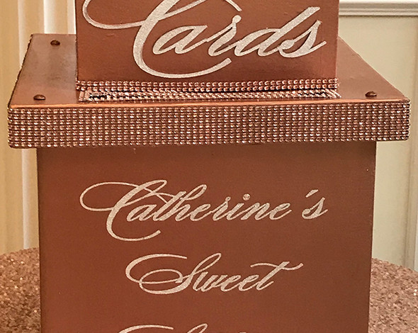 Rose Gold Sweet 16 Card Box