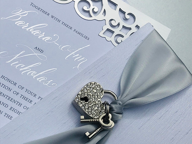 Custom Die Cut Invitation with Brooch