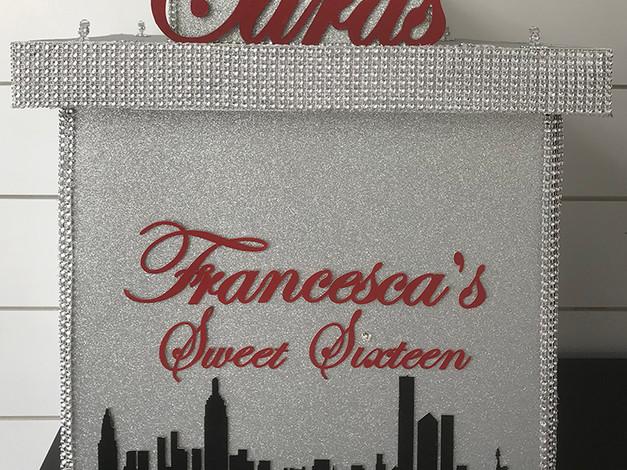 Silver Glitter Card Box