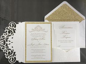 Gold Glitter and Die Cut Pocket Invitation