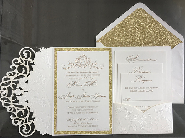 Gold Glitter and Die Cut Pocket Invitation