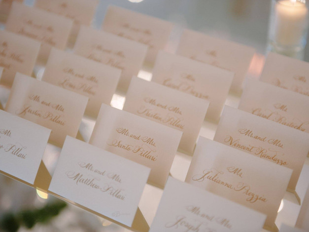 Gold Hand Calligraphy Place Cards