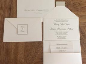 White Pocket Wedding Invitation Suite