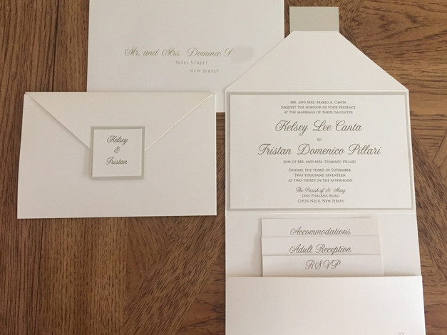 White Pocket Wedding Invitation Suite
