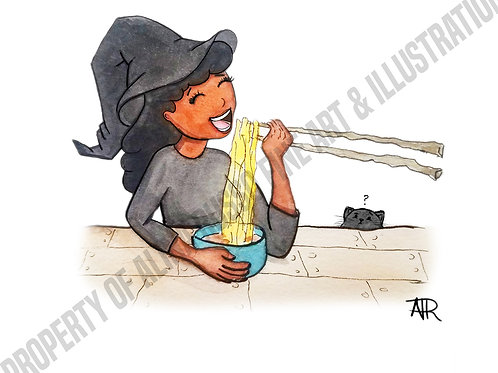 "Tia the Witch""Chopsticks"" - Halloween Card"