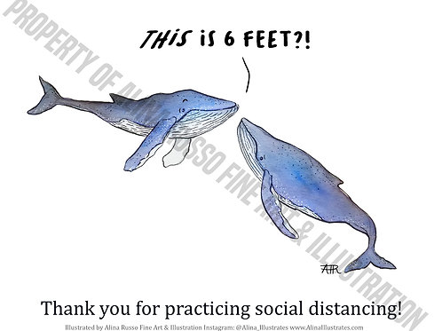 Social Distance Blue Whale Poster - Digital
