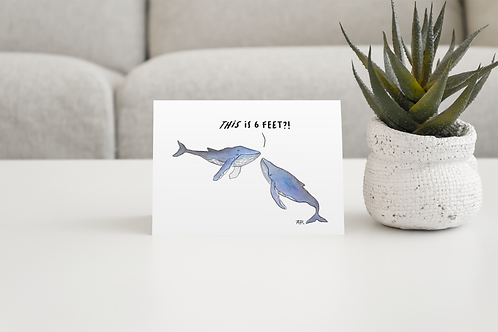 Social Distance Blue Whale Greeting Card