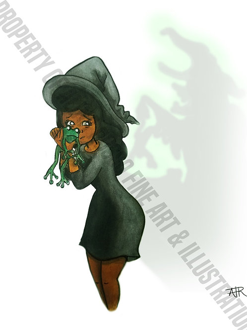 """Tia the Witch """"Save the Frog""""- Halloween Card"""