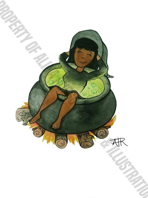 "Tia the Witch ""Cauldron""-Halloween Card"