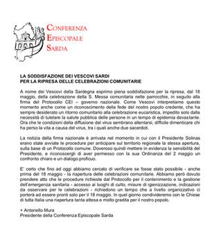 Comunicato della Conferenza Episcopale Sarda