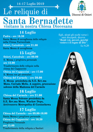"Le Reliquie di Santa Bernadette visitano la nostra Diocesi..."""
