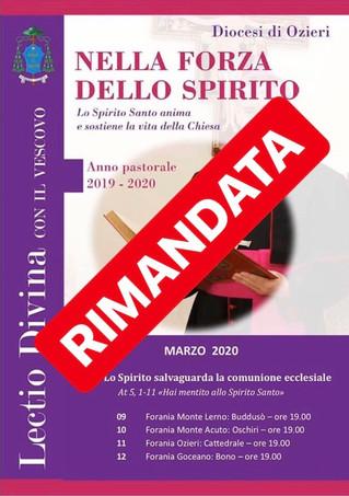 """LECTIO DIVINA con il Vescovo - Marzo 2020: """"Lo Spirito salvaguarda la comunione ecclesiale&quot"""