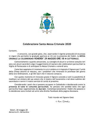 Celebrazione Santa Messa Crismale 2020