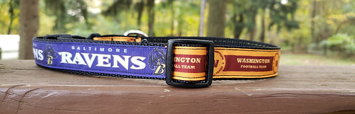 "Sports-themed Adjustable Dog Collars - 1"" Width - fits 9"" - 15"""