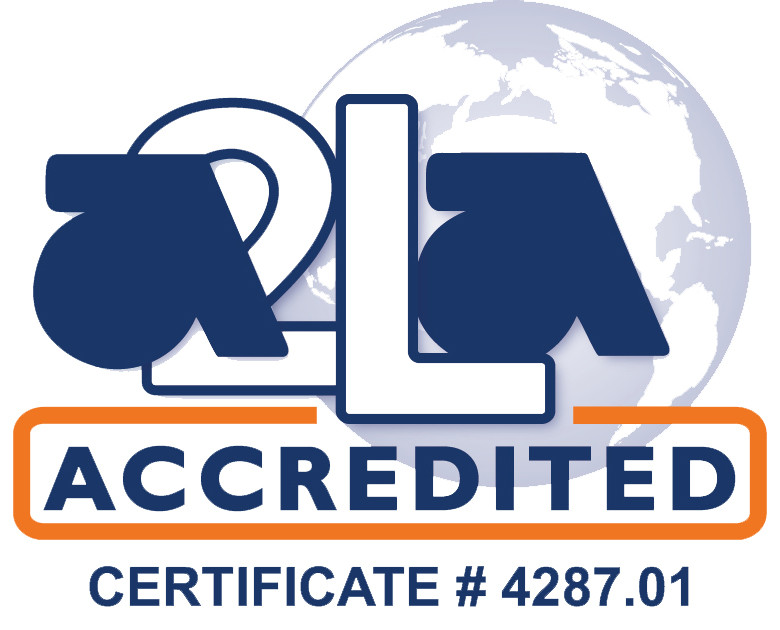 A2LA logo with our accreditation certificate number