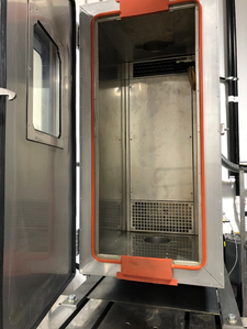 Inside view of the environmental chamber mounted on our MTS 825 Damper Test Machine.