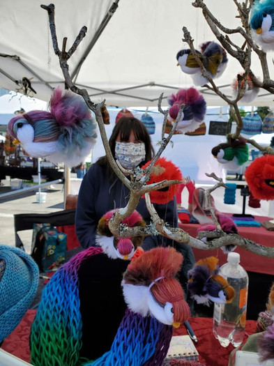 Fluffy birds and knitted scarves