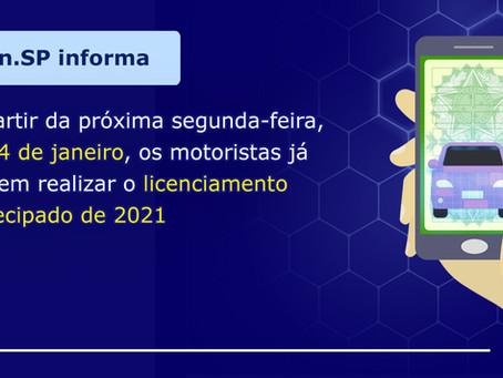 DETRAN.SP LIBERA LICENCIAMENTO ANTECIPADO DE 2021 A PARTIR DO DIA 04/01/2021