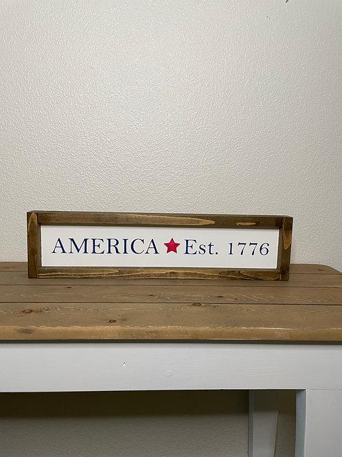 America Est. 1776 wood sign