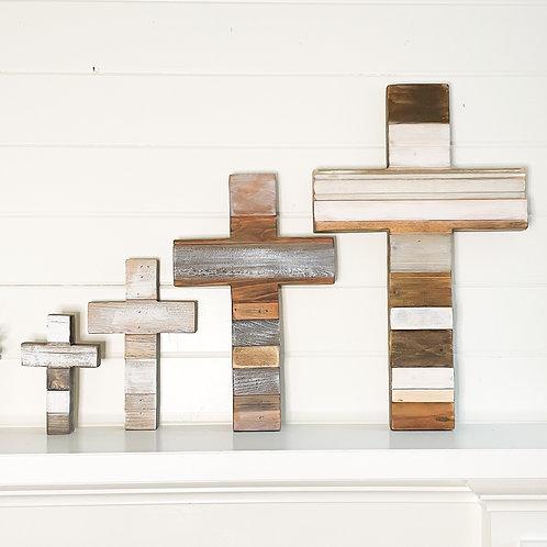 Rustic reclaimed wood cross