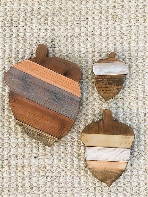 Rustic reclaimed wood Acorns