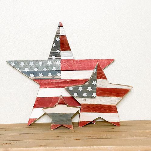 Rustic reclaimed wood star set of 3 bundle