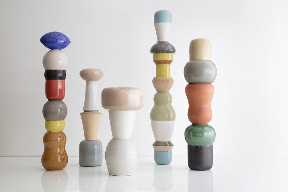 Totems, glazed stoneware
