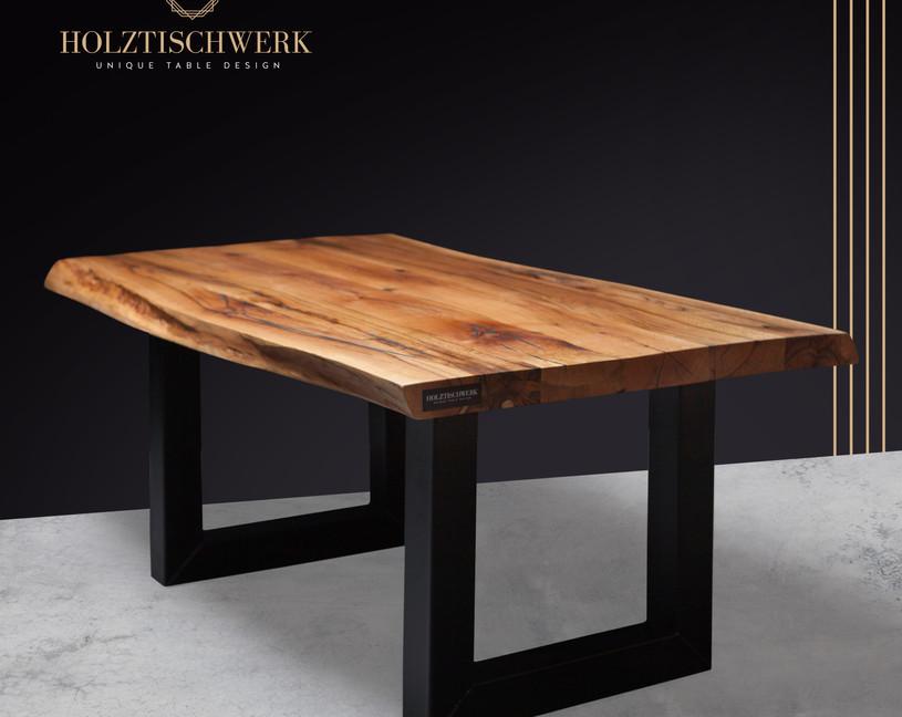 Holztischwerk Naturkante aus Eiche