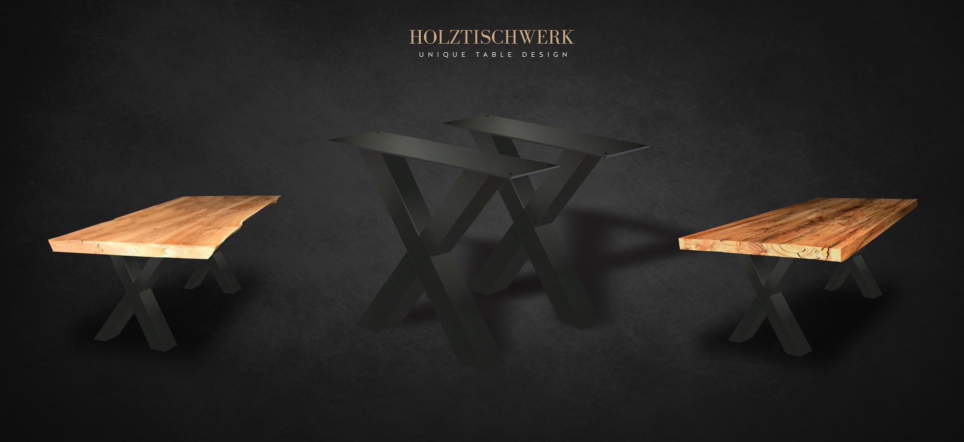 Holztischwerk X Tischbeine