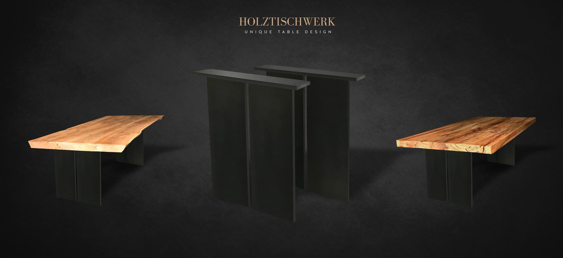 Holztischwerk Metall Tischwangen
