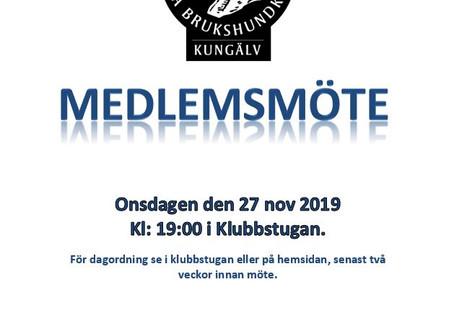 Medlemsmöte 27 november kl 19,00