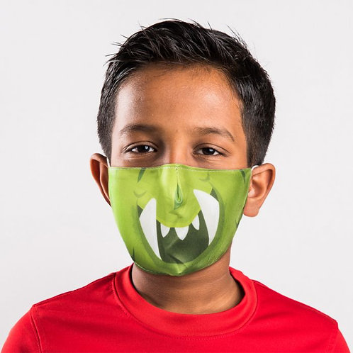 Kids Face Covering - Green Monster