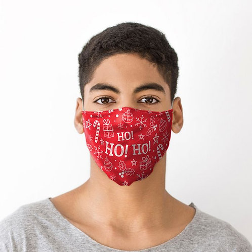 Adult Face Covering - Ho Ho Ho Red