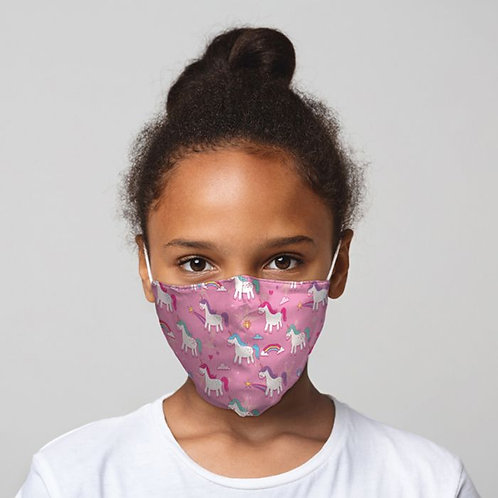 Kids Face Covering - Pink Unicorns