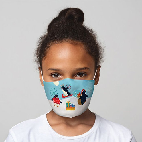 Kids Face Covering - Xmas Penguins