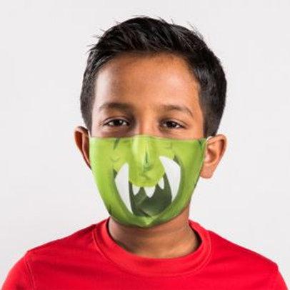 Kids Face Covering - Green Monster