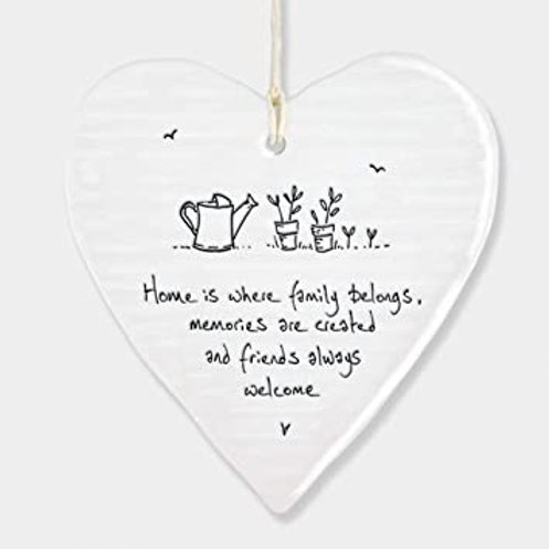 East of India Hanging Heart - Home is where family belongs