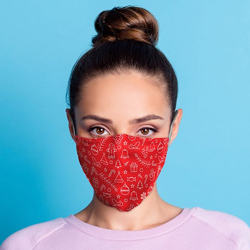 Adult Face Covering - Red Xmas Icons