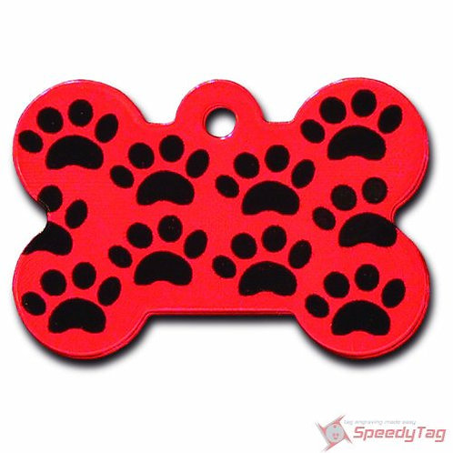 Bone Lg Red with Black Paws 7324-206