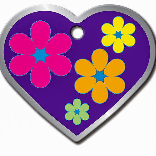 Heart Lg Purple with Flowers 7731-48-1114