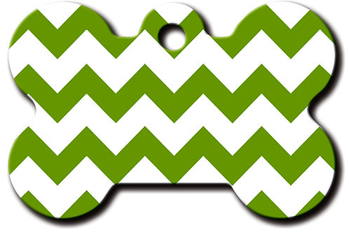 Bone Lg Chevron Green & White 7324-1259
