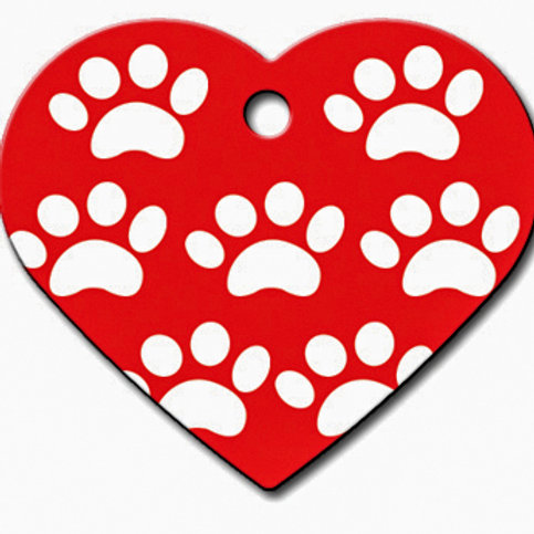 Heart Lg Red with Whie Paws 7322-301