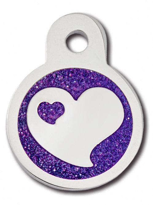 Circle Sml Epoxy Heart with Purple Glitter 7724-67