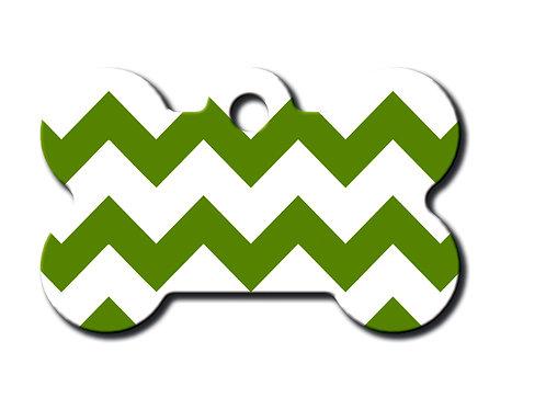 Bone Sml Chevron Green & White 7700-1259
