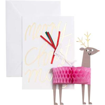Christmas Card with Reindeer Pop Up Decoration
