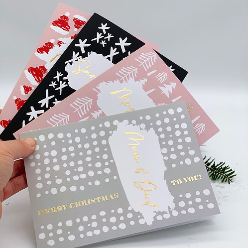 Set of 4 Personalised Christmas Cards