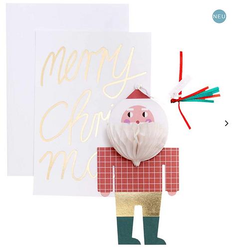 Christmas Card with Santa Pop Up Decoration