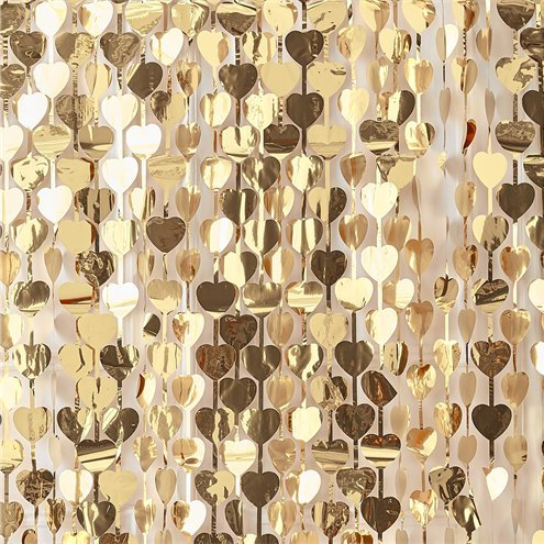 Gold Heart Foil Curtain Backdrop